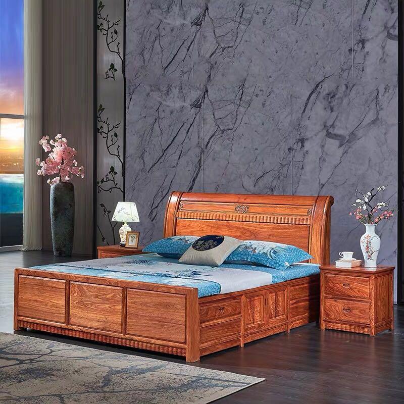 红木床双人床