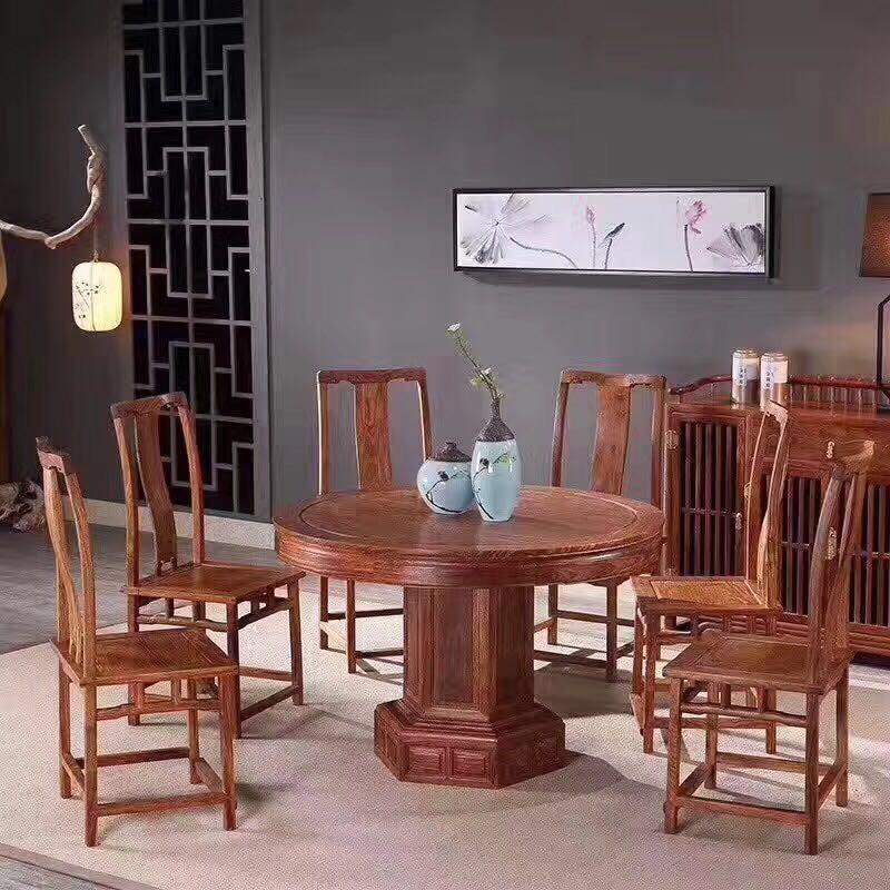 现代中式圆形红木餐桌