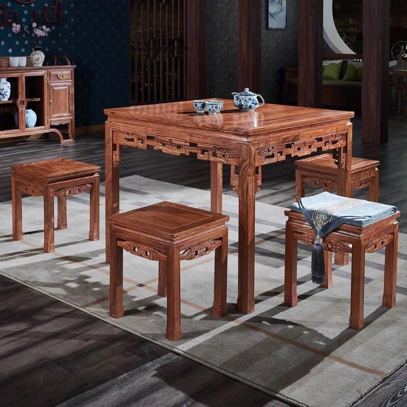 现代中式红木方形餐桌