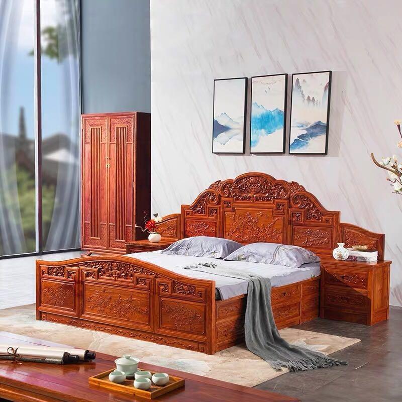 新中式红木床双人床
